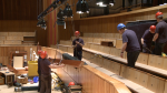 Reinstallation work in the auditorium