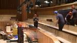 Reinstallation work in the auditorium